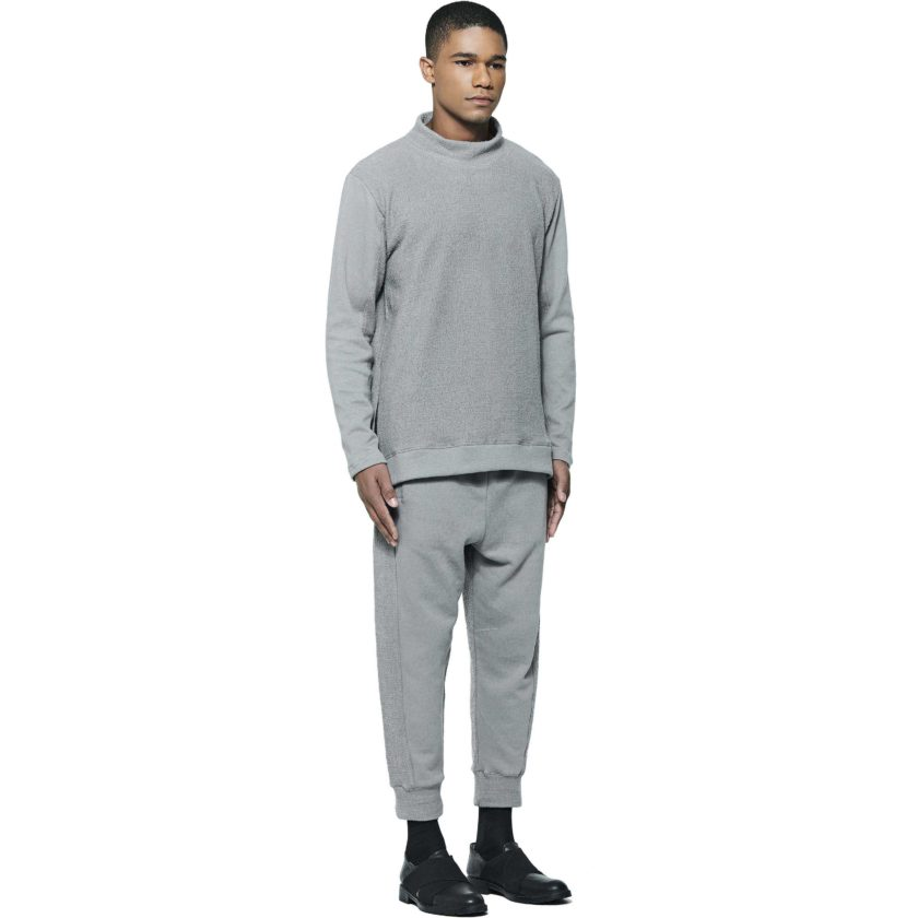 Moletom turtle neck cinza - lateral