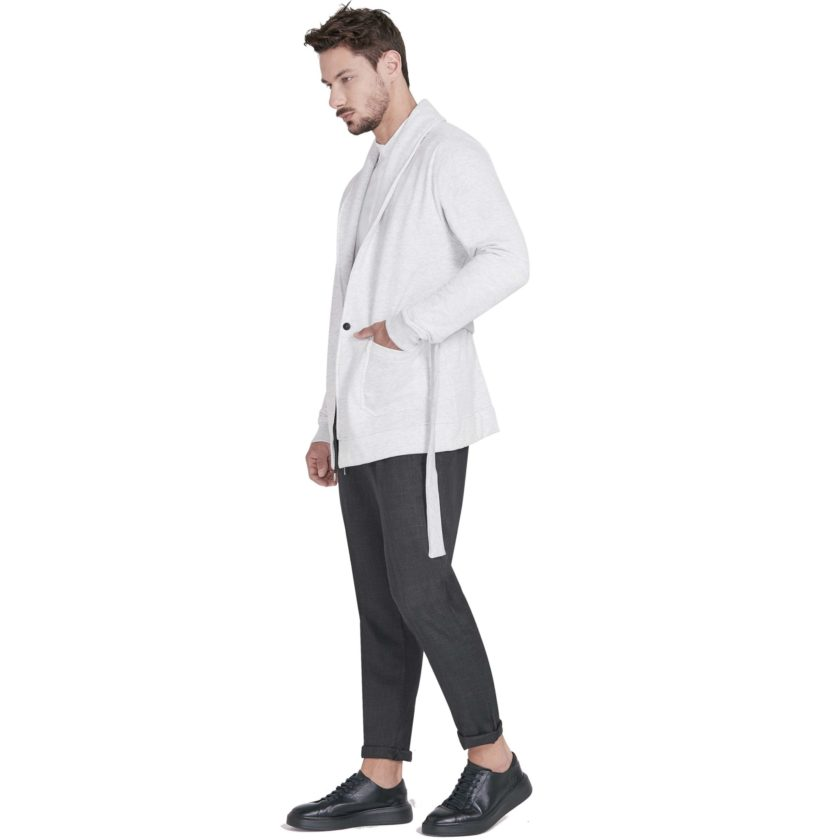 Cardigan Gola Xale Bege - Lateral